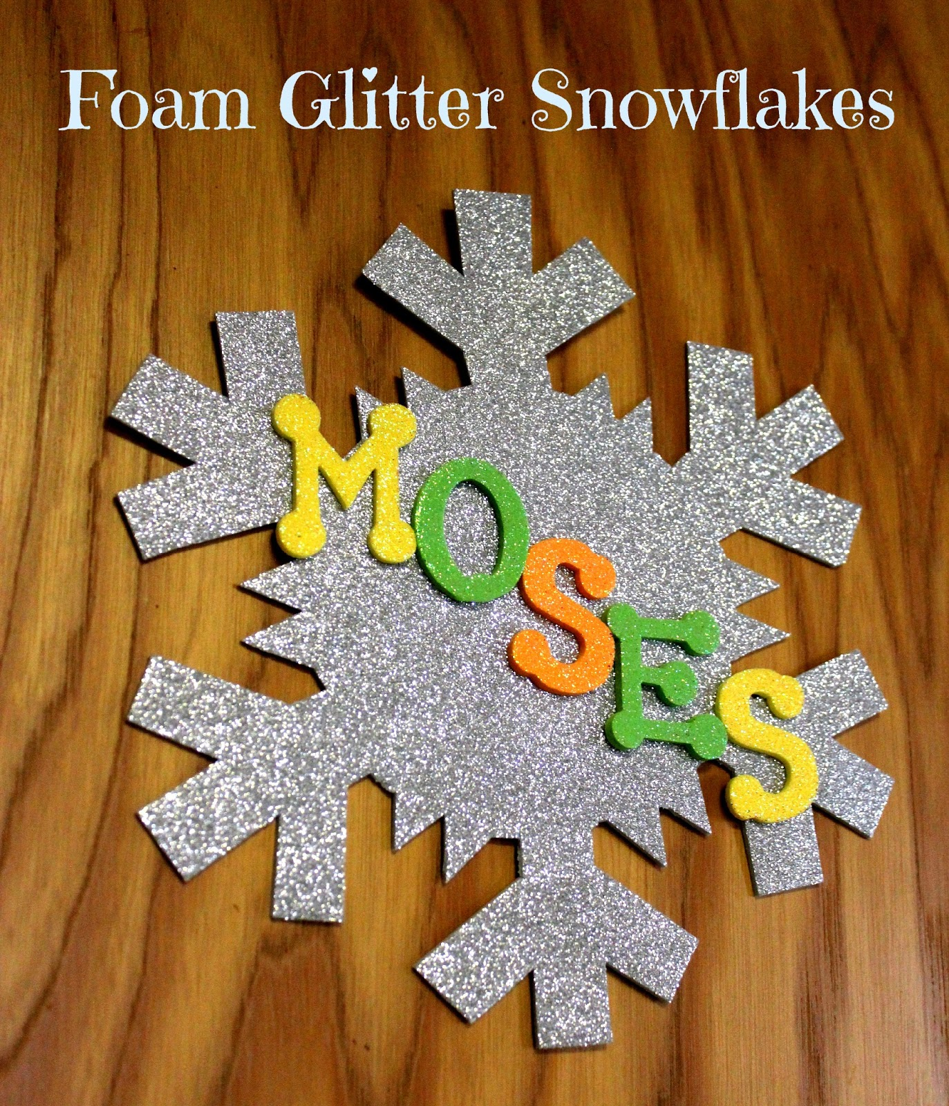 Easy personalized glitter foam snowflake craft lille punkin 39 for Glitter crafts for kids