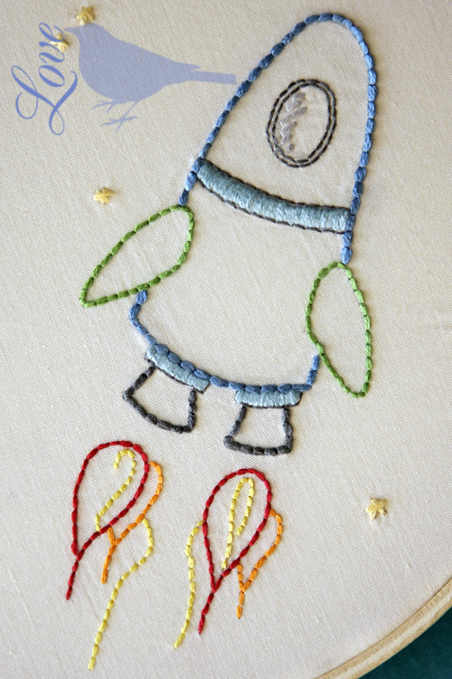 Love the blue bird outer space embroidery pattern for Space embroidery patterns