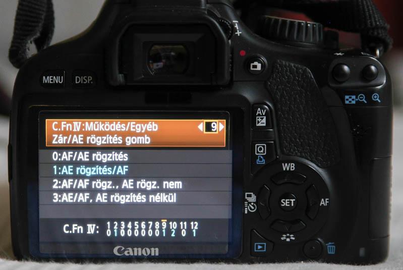 Canon 550D AF-ON gomb és exponálógomb beállítása
