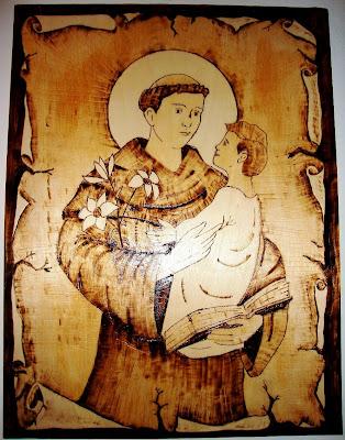 Santo António pirogravura