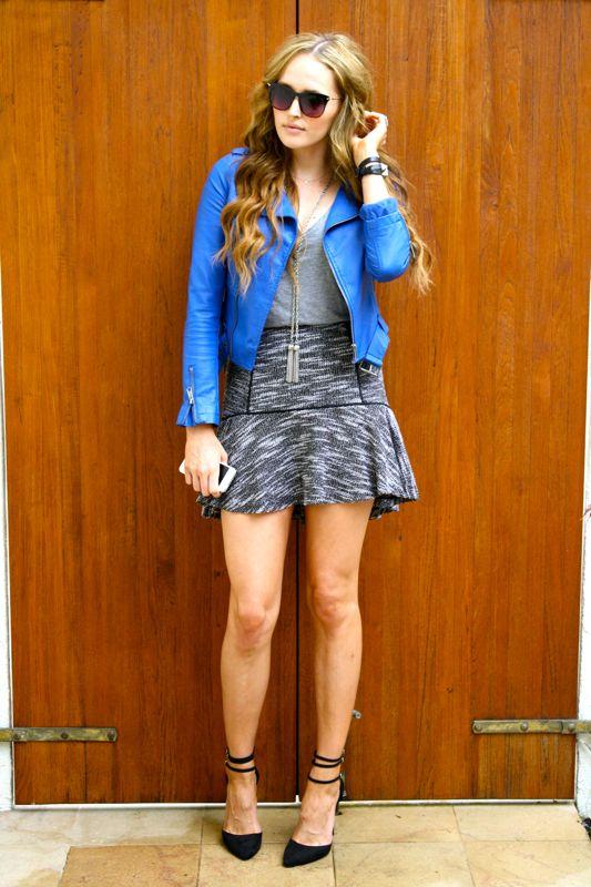 Blue Leather Jacket- Dolce Vita Tweed Skirt- JustFab Heels-LA Personal Style Blogger-Golden Divine Bllog