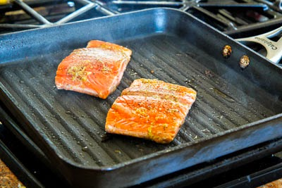 salmon rotated for Easy Recipe for Greek Salmon Cooked in a Grill Pan found on KalynsKitchen.com