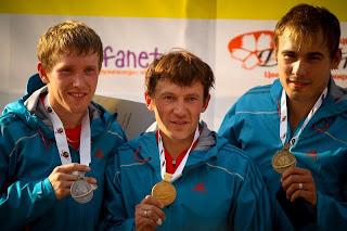 Награждение победителей мужского спринта. ЧМ по летнему биатлону 2012. Уфа.