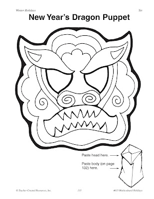 New Year S Dragon Colouring Mask Pictures to Pin on Pinterest