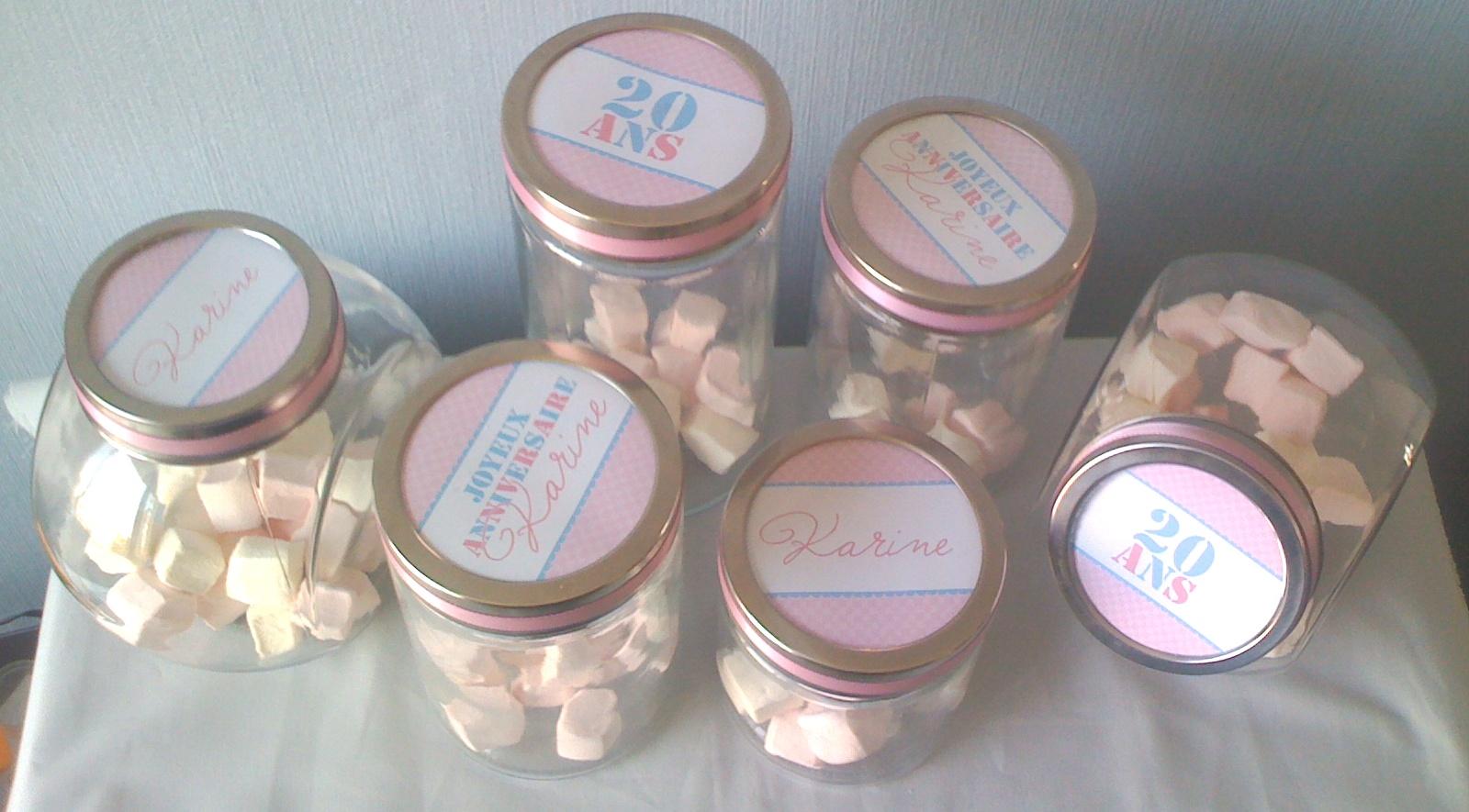 bonbonnières en verre et decoration candy bar