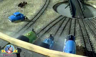 Sir Topham Hatt railway turntable Tidmouth shed Thomas the tank engine Gordon and Percy the train