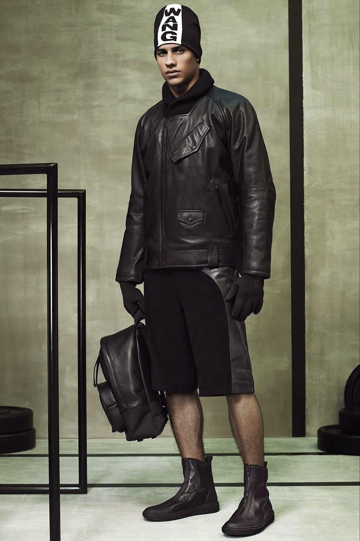 Collection Hommes Alexander Wang x H&M 2014 neoprene sportswear fashion NY bermuda short sac à dos en cuir, veste en cuir