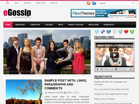 eGossip Free WordPress Theme