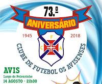 """AVIS: 73º ANIVERS+ARIO DO CLUBE DE FUTEBOL """"OS AVISENSES"""""""