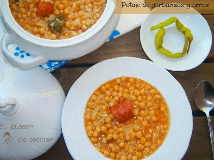 El placer de cocinar potaje de garbanzos y arroz for Cocinar garbanzos