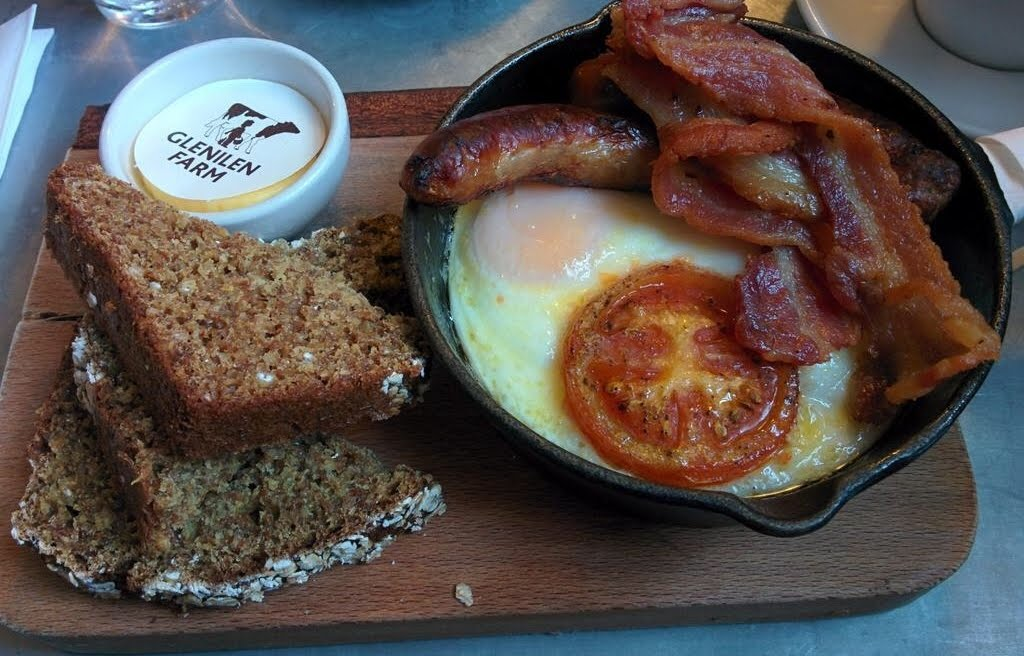 Double Baked Eggs, Soda Bread, Bacon, Sausage and Roast Tomato at Hatch and Sons
