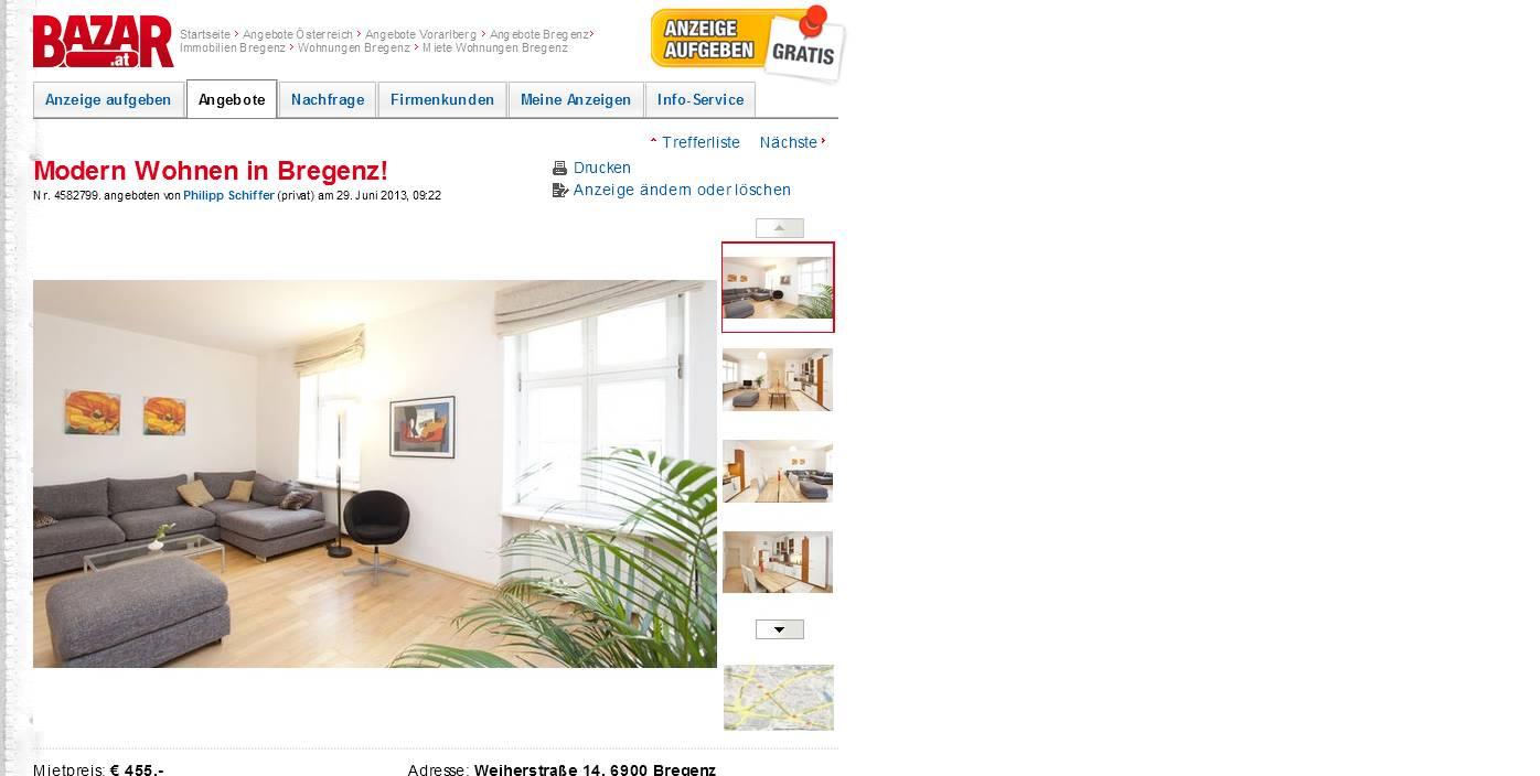 Bregenz Möbel modern wohnen in bregenz weiherstraße 14 6900 bregenz vorkassebetrug fraud scam