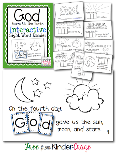 FREE Emergent Reader to teach the story of Creation. Great for EARTH DAY!