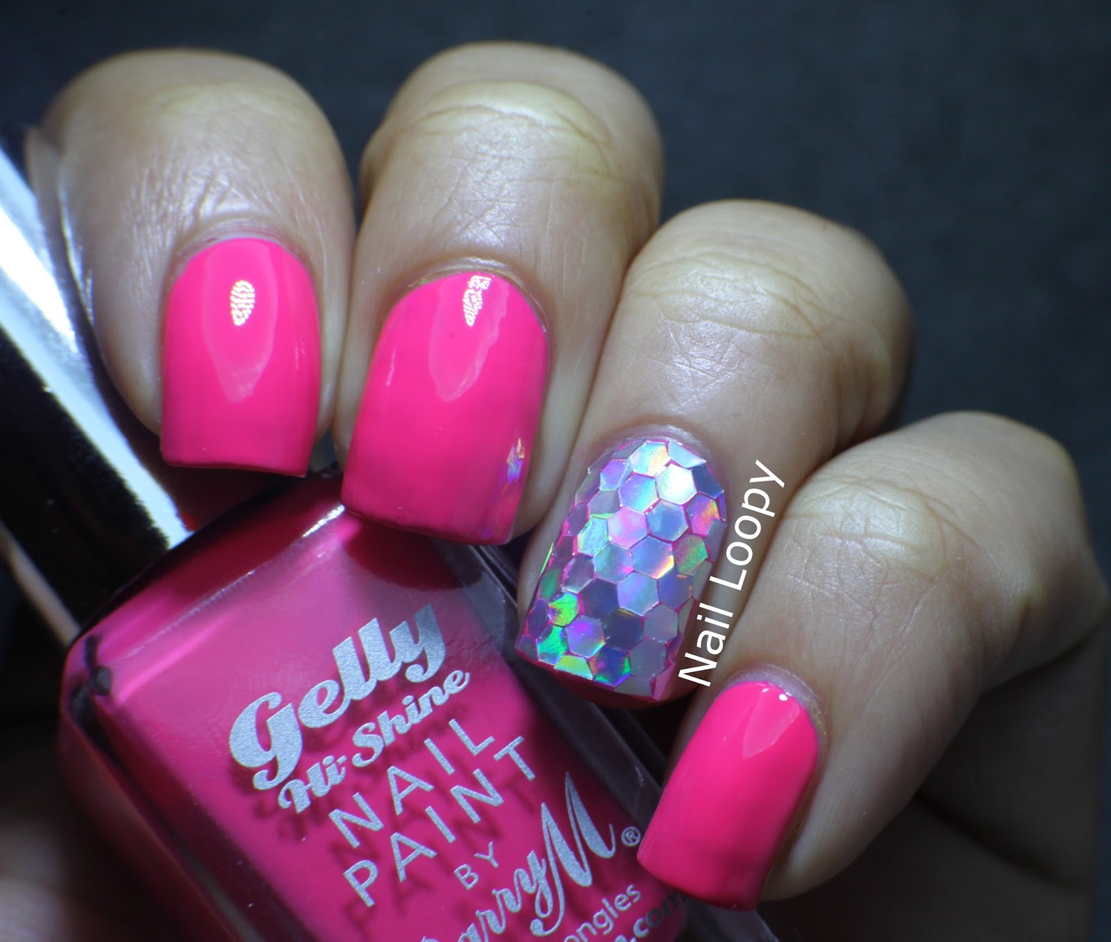 nail loopy: BARRY M GELLY GRAPEFRUIT & HOLO GLEQUIN ACCENT