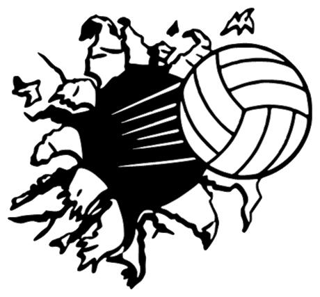 volleyball with flames black and white