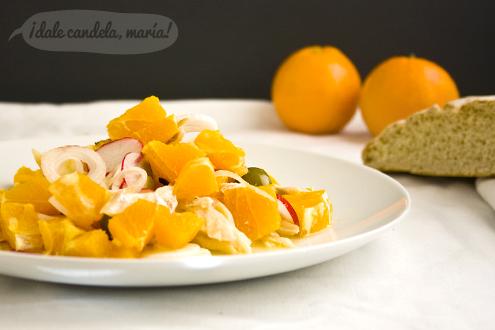 Receta ensalada malagueña de naranjas con bacalao
