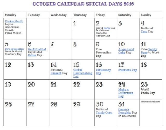 FREE Printable October calendar 2015