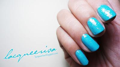 Flakes Glitter On Turquoise Polish