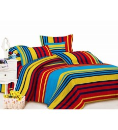 Buy Carah Multi Colored Striped Double Bedsheet With Two Pillow Covers only at pepperfry