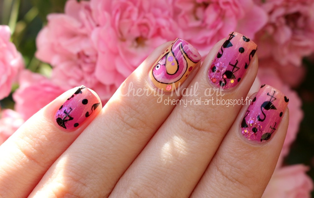 nail art tendance flamant rose et dégradé
