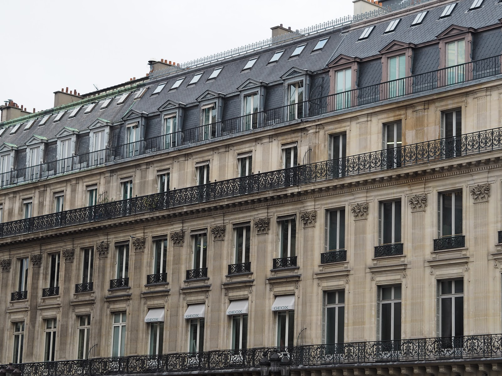 Paris Architecture, Juliet Balcony and grey slate roof