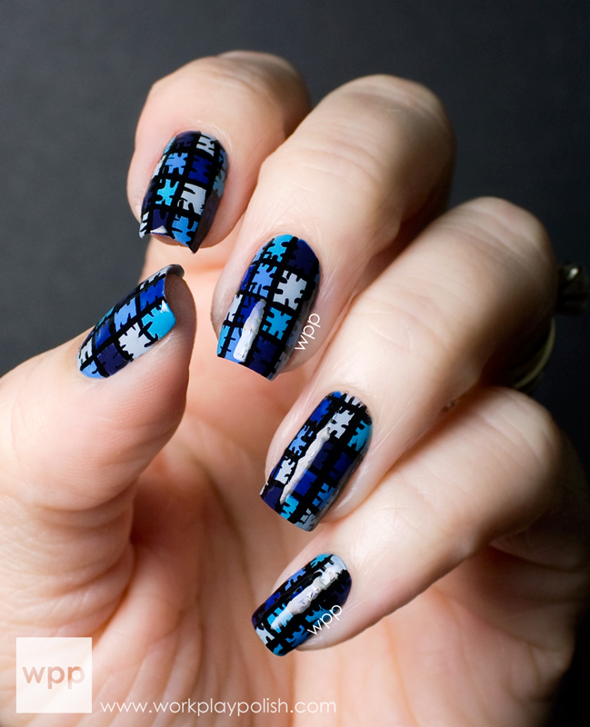Blue Patchwork Nail Art