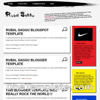 Rubal Saggu Blogger Template. free blogspot template multi color