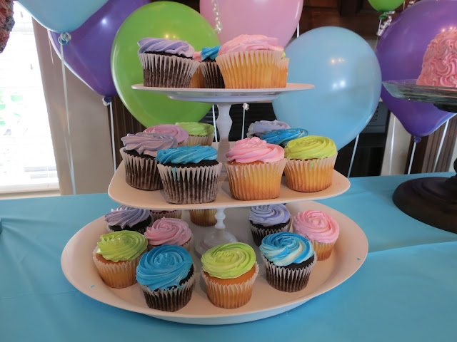 rainbow chevron birthday cupcakes