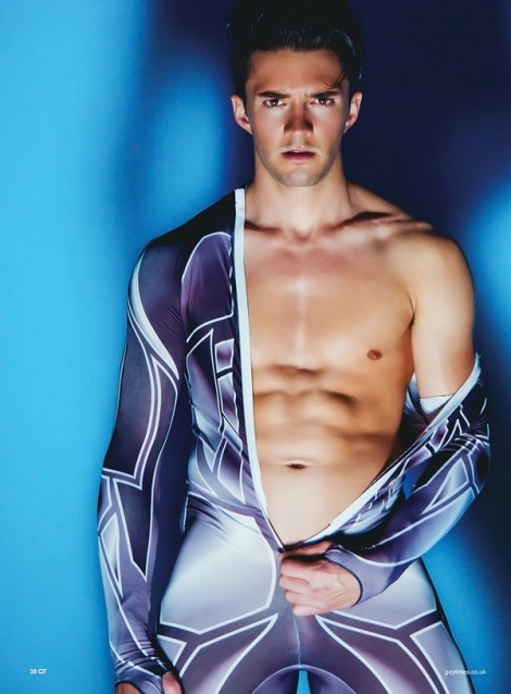 Blake Skjellerup unzipping his skating suit in GT Magazine