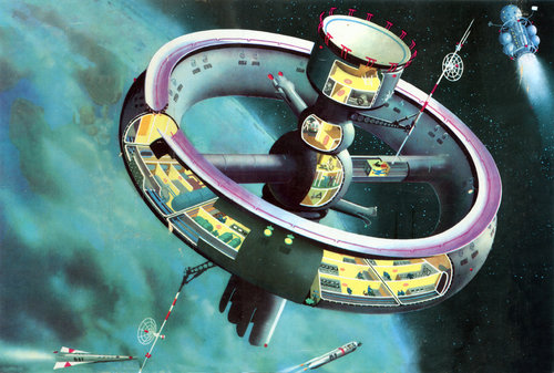 Exonauts torus wheels iconic spinning space stations for Retro space design