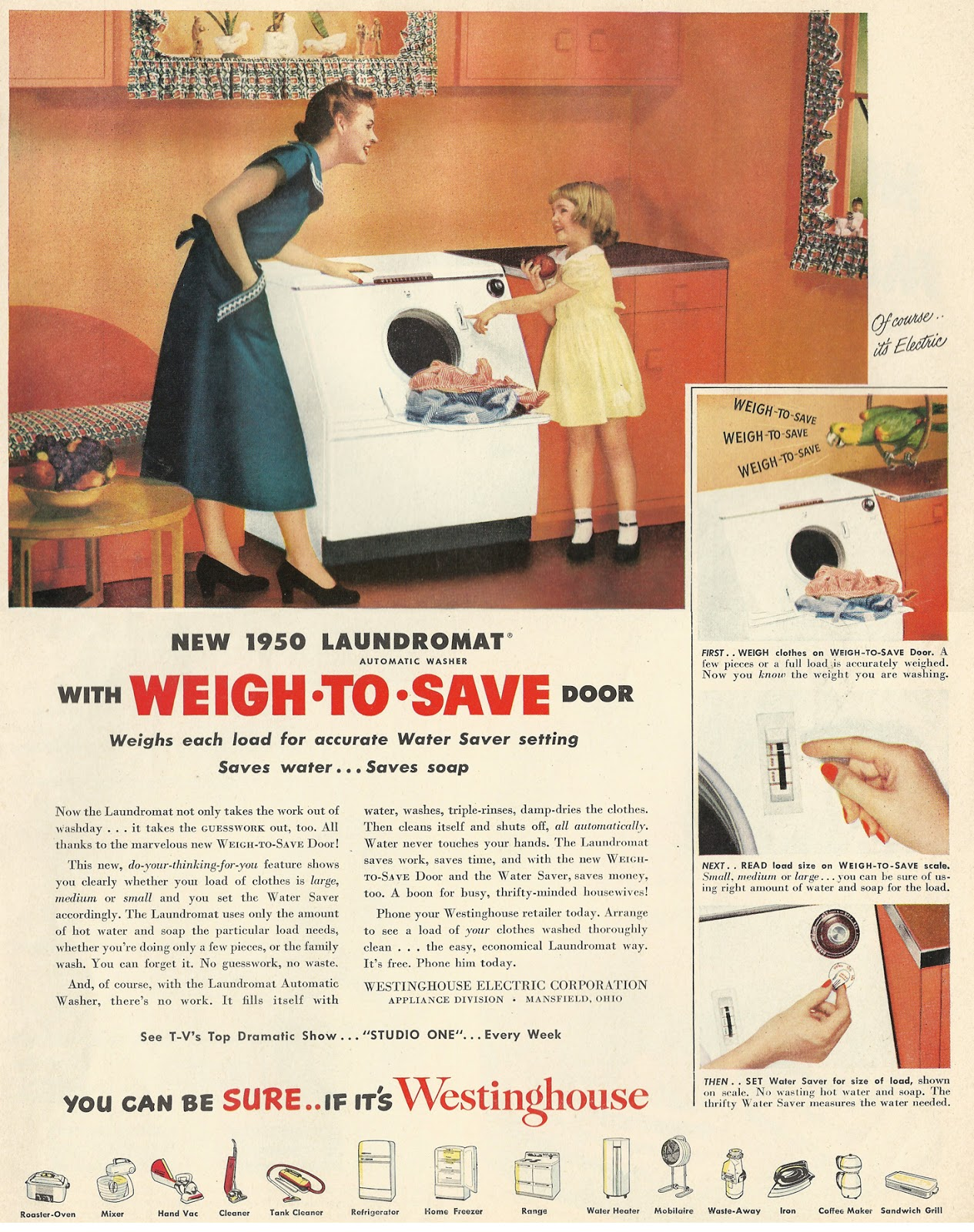 Old Ads Are Funny 1950 Ad Laundromat With Weigh To Save Door