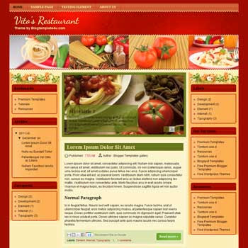 Vitos Restaurant Blogger Template. free recipes and cooking blogger template