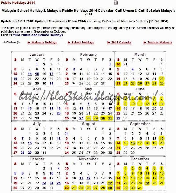 kalender cuti sekolah 2014 mengikut takwim takwim sekolah tahun 2014