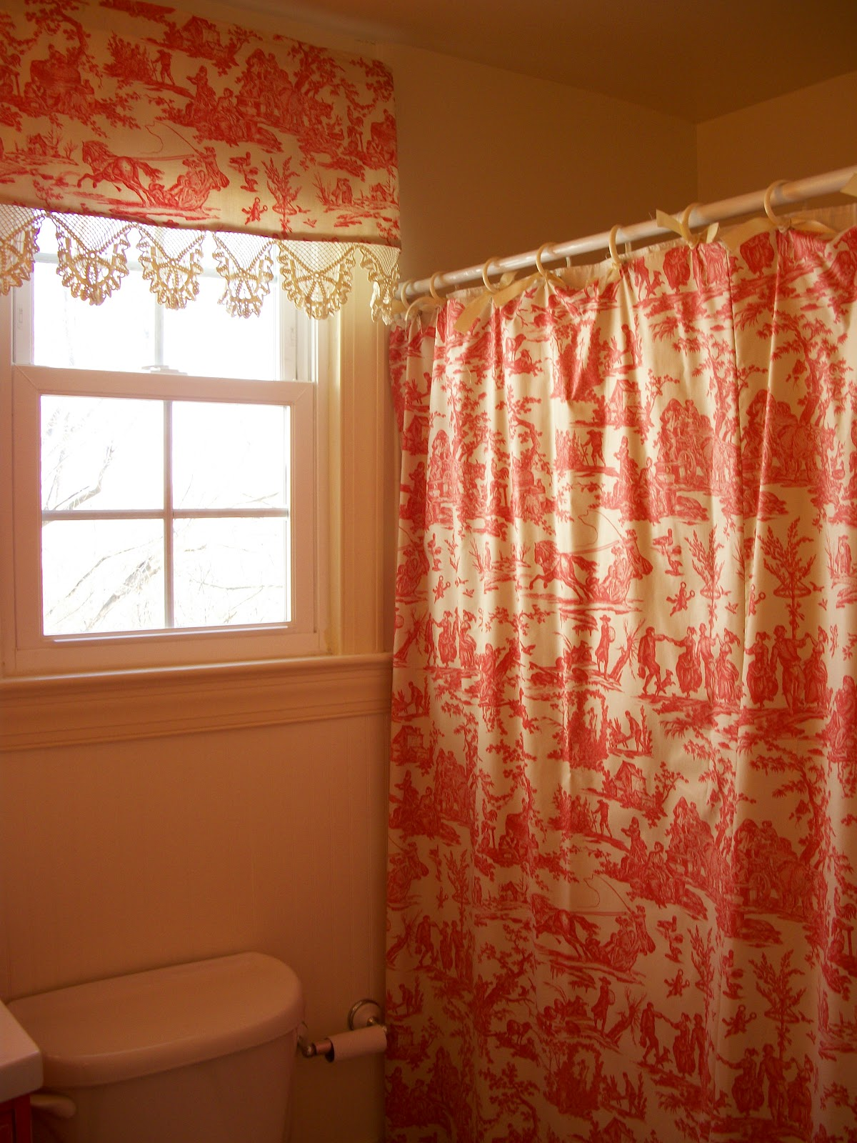 Bathroom window curtains with matching shower curtain - Red Toile Shower Curtain And Matching Valance