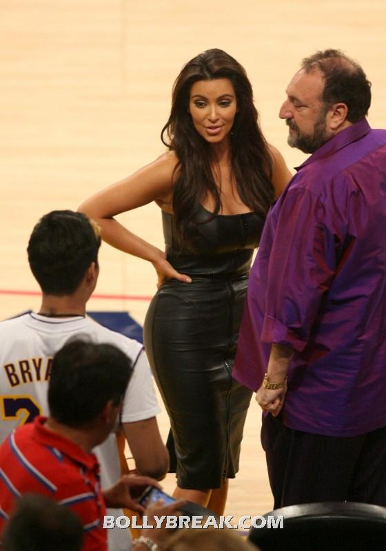 Kim Kardashian in black dress  - Kim Kardashian at Staples Center - May 2012