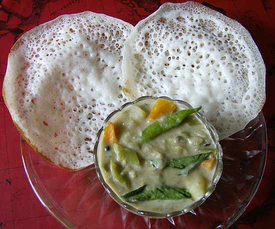 Ingredients for Appam and chicken stew kerala cuisine