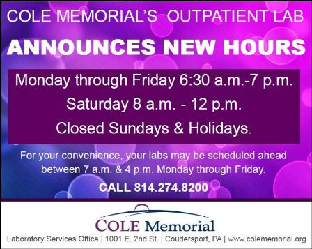 New Hours For Cole Memorial's Lab