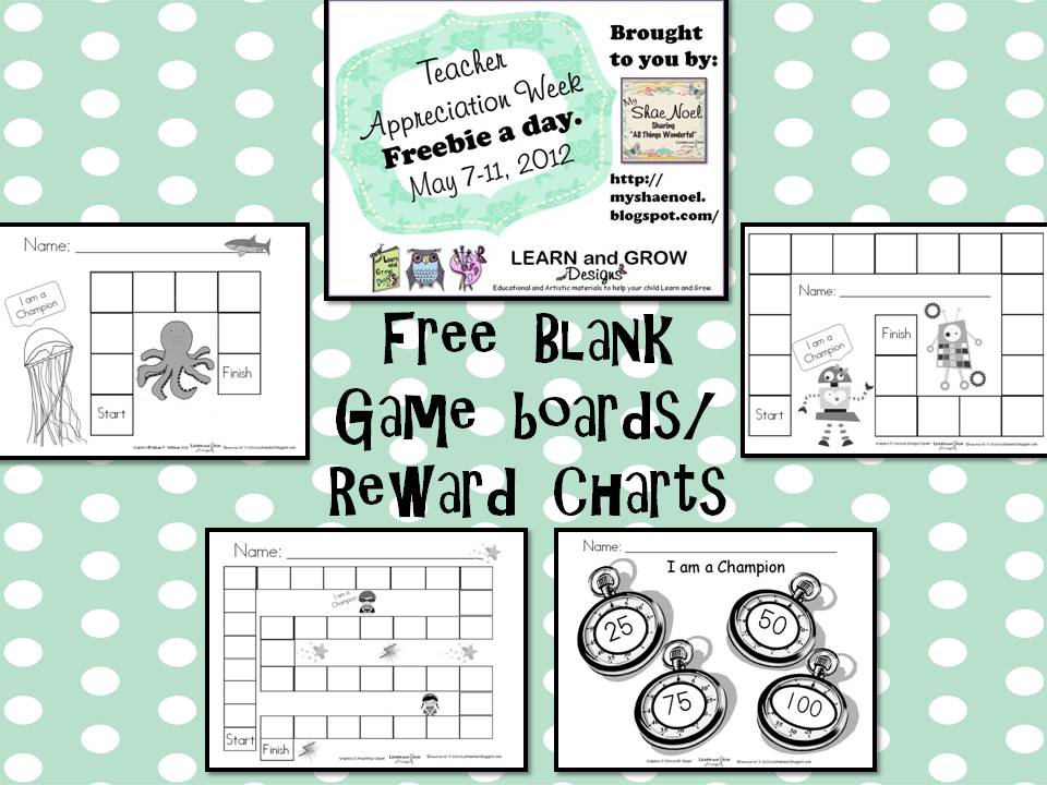 Learn and Grow Designs Website Blank GameboardsReward Charts – Blank Reward Chart