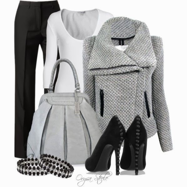 Grey sweater white blousr long heel shoes with hand bag