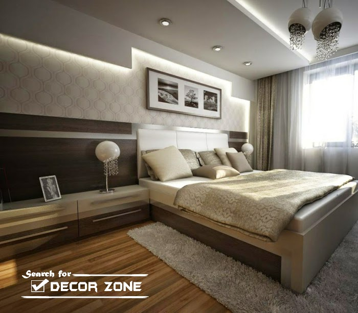 Led wall design in bed room images for Brown bedroom wallpaper