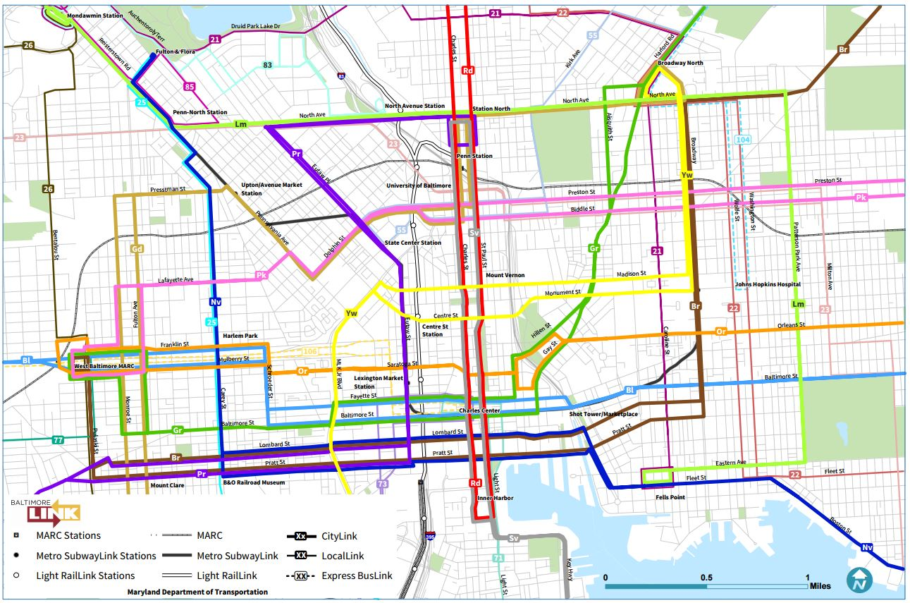 you ll find plenty of other maps covering other areas of baltimore at http mta maryland gov baltimorelink sector maps