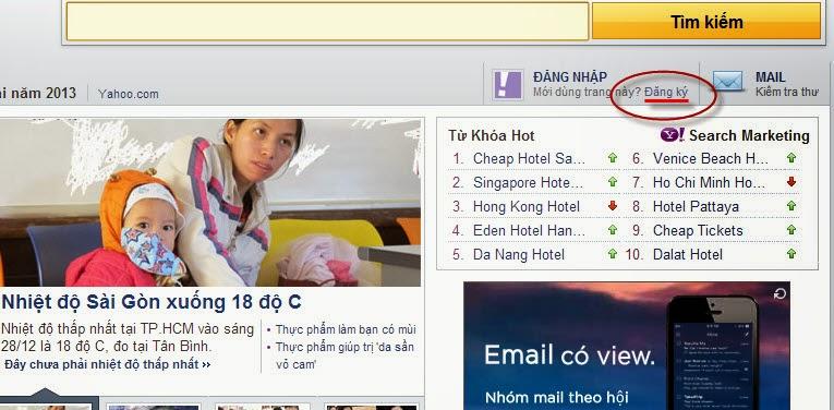 Đăng ký Yahoo Chat Mail bằng Tiếng Việt