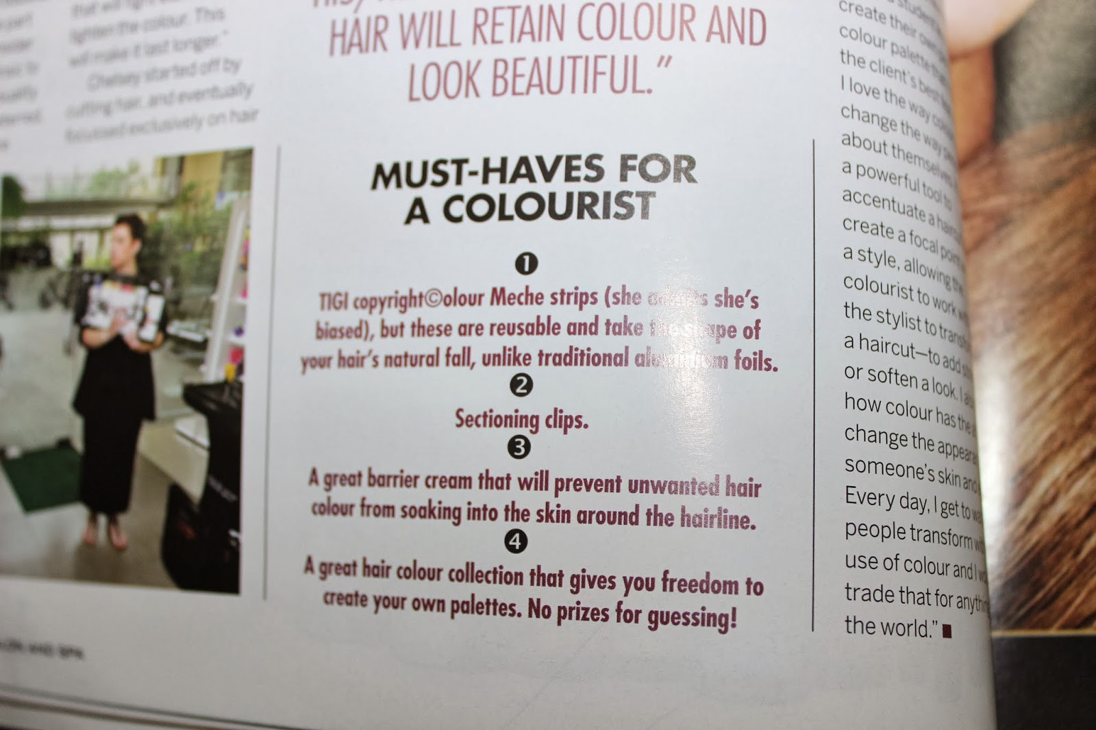 Chelsey lloyd, Global Expert at Tigi shares her wisdom and must-haves for a colurist.