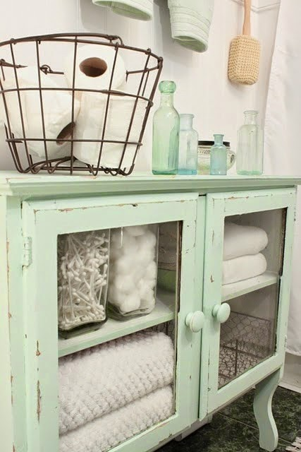 green antique cabinet bathroom storage