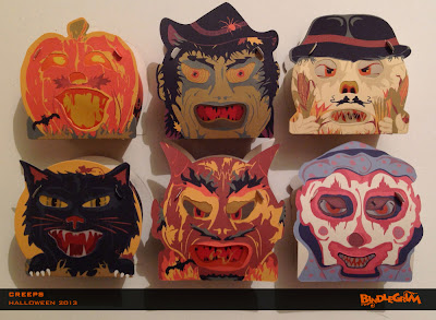 Front view of the 6 smaller Halloween characters of these vintage style slot-and-tabl paper boxes both candy containers and lanterns with vellum eyes & mouths
