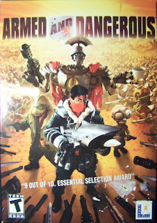 Land shark gun - Armed and Dangerous video game box cover art