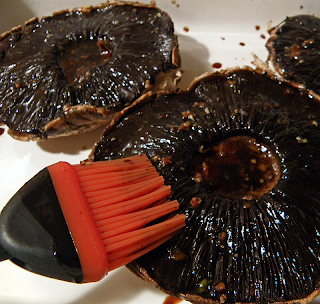 Brushing Portobellos with Balsamic Marinade and Garlic