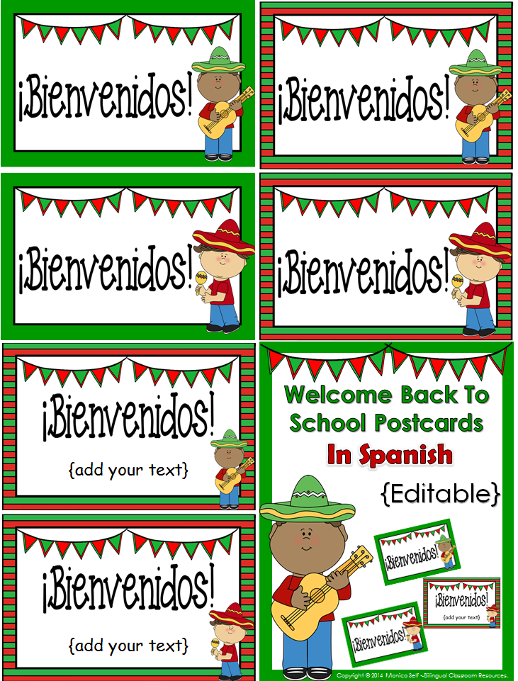 http://www.teacherspayteachers.com/Product/FREE-Welcome-Back-to-School-Postcards-In-Spanish-Editable-1329080