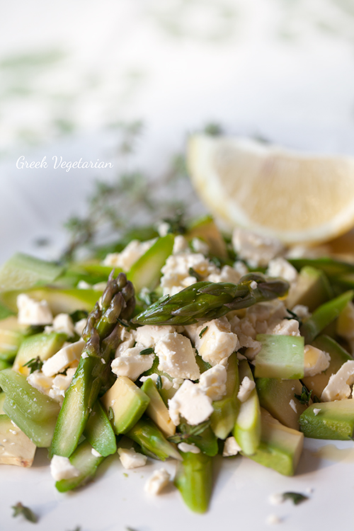 Greek Vegetarian: Fresh Asparagus Salad with Feta, Avocado and Thyme