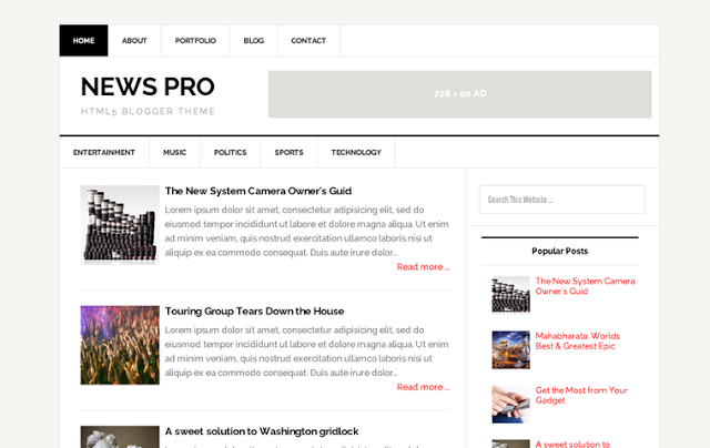News Pro Responsive Blogger Template
